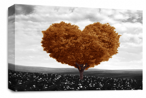 Love Heart Wall Art Picture Floral Tree Brown White Grey Print